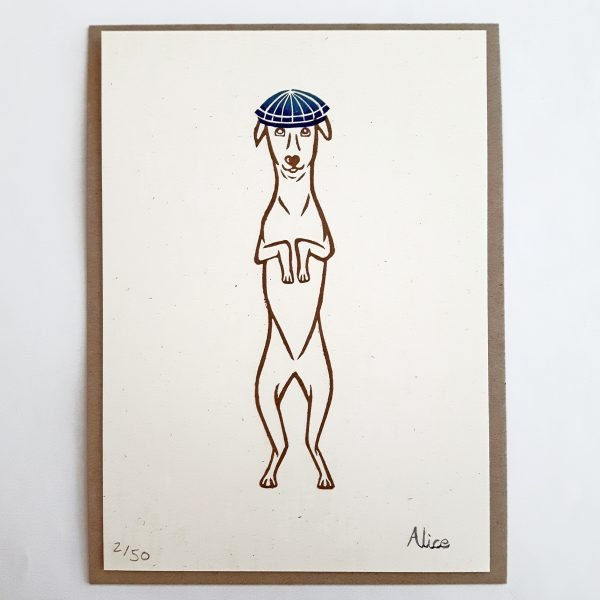Whippet art print. outline of a standing whippet, holding his paws up as if to beg, and wearing a bright blue flat cap