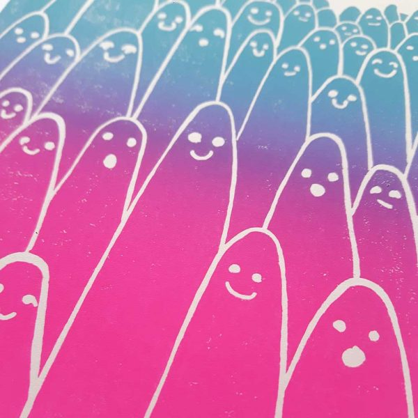 close up of my aliens print, showing gradient effect of magenta into turquoise