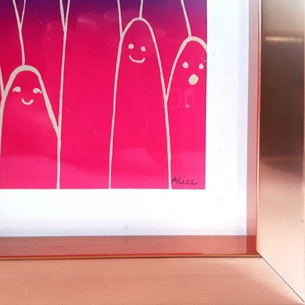 close up of framed art print, showing copper frame, white mount and allien print, with Alice signature