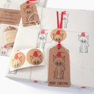 christmas cat gift wrapping