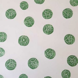 brussel sprouts wrapping paper -cream paper with green cartoon sprouts