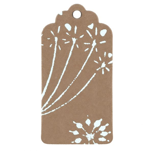 brown kraft tag with white seed head pattern