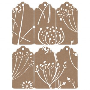 Floral Gift Tag Set, 6 kraft tags with seed head print in white