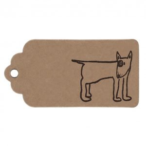 bull terrier gift tag, borwn tag with black english bull terrier