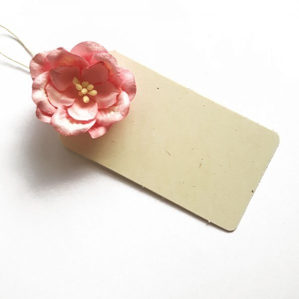 cream gift tag with 3D pink paper rose