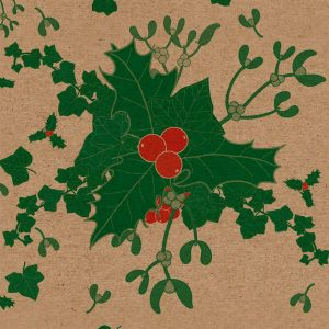 Close up of botanical christmas wrapping paper, including holly, ivy and mistletoe on a brown kraft background