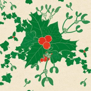 botanical Christmas wrapping paper - holly, ivy and mistletoe on a cream background
