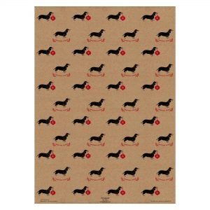 Full sheet of Christmas sausage dog wrapping paper