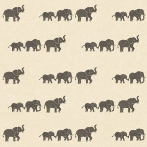 baby wrapping paper, cream wrapping paper with marching elephant print