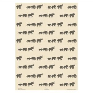 Full sheet of cream elephant wrapping paper