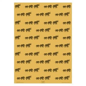 full sheet of elephant print wrapping paper - yellow paper.