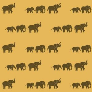 Childrens wrapping paper - yellow elephant print wrapping paper