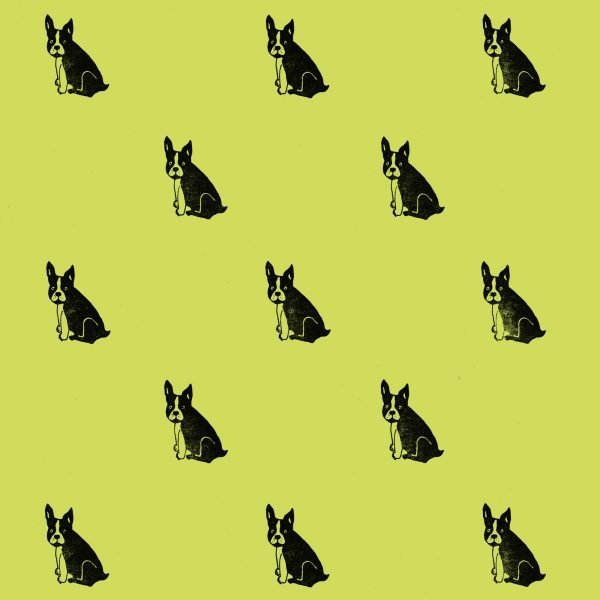 frenchie wrapping paper - black frenchies on pistachio green background