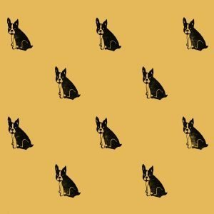 Quirky wrapping paper, featuring a repeating pattern of black frenchies on yellow paper