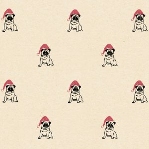 Christmas dog cream wrapping paper. Black pugs wearing red santa hats on cream background
