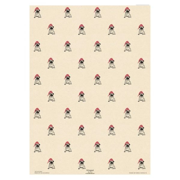 full sheet of christmas pug cream wrapping paper