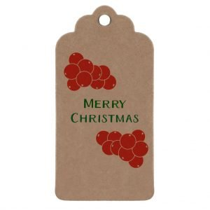 Holly gift tag - brown kraft tag, with red holly berries and green 'merry Christmas' message.