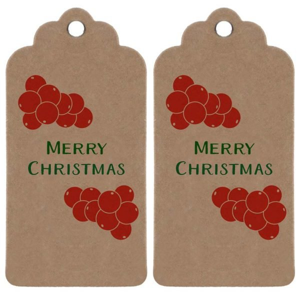 two brown kraft parcel tags with holly berries, and 'Merry Christmas' printed in dark green.