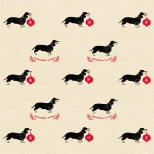 Christmas sausage dog wrapping paper. Cream paper with dachshunds and red baubles