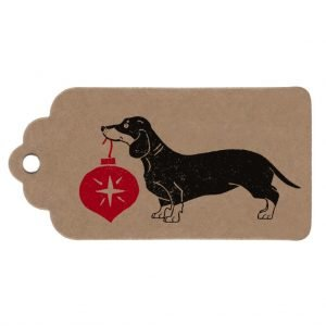 kraft christmas sausage dog gift tag