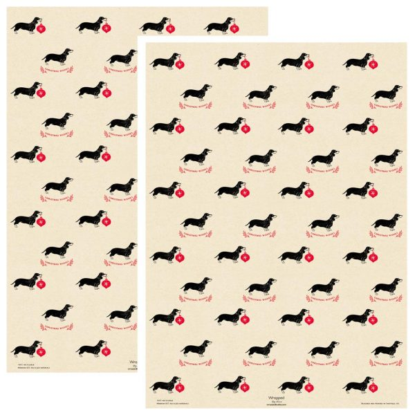 2 sheets of Christmas Dachshund wrapping paper