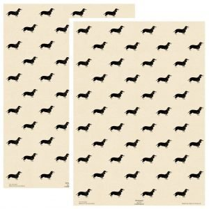 two sheets of cream sausage dog wrapping paper