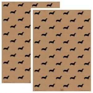 two sheets of kraft dachshund gift wrapping