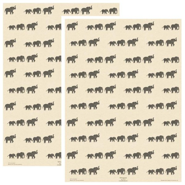 two sheets of cream elephant wrapping paper