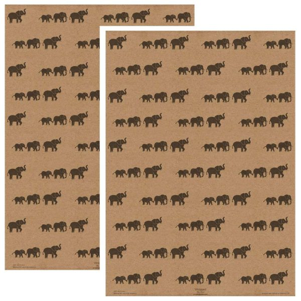 2 sheets of elephant wrapping paper