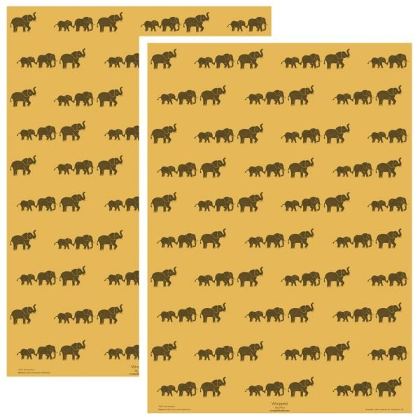 2 sheets of yellow wrapping paper with elephant print