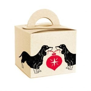cream gift box with christmas dachshunds holding red bauble
