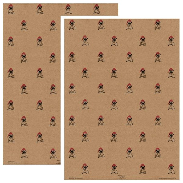 2 sheets of Christmas Pug wrapping paper