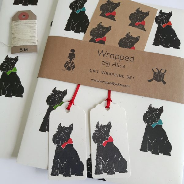 close up of Scottie dog gift wrapping set