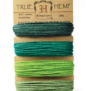 Hemptique Hemp Cord set - Emerald. Four 9.1m lengths of 20lb hemp cord, in a variety of lush green shades
