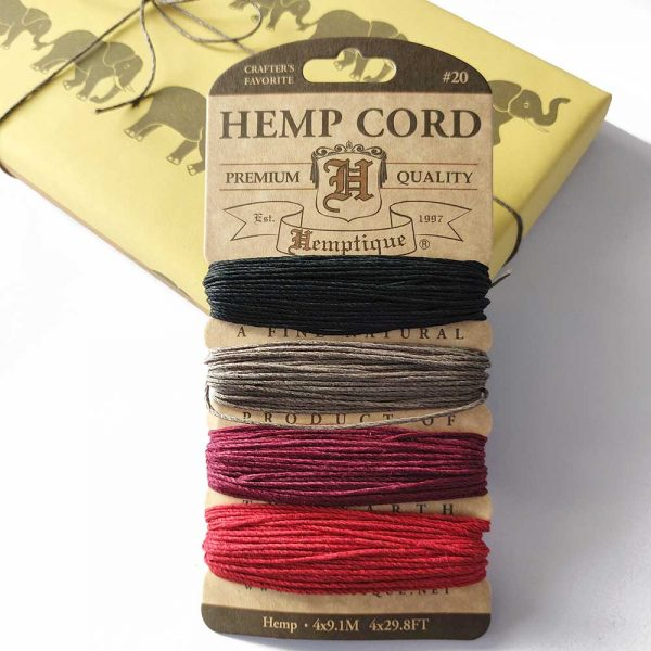hemp cord - autumn nights set, with gift behind tied with grey hemp cord from the set.
