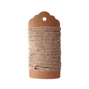 Natural hemp cord - 5 metre length of 20lb hemp cord, natural undyed, wound on brown kraft tag.