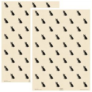 two sheets of cream frenchie gift wrapping.