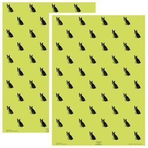 2 sheets of pistachio green wrapping paper, with a repeating pattern of black frenchies