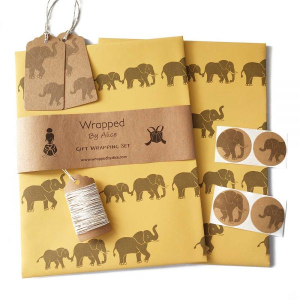 elephant gift wrap set, with yellow wrapping paper and kraft tags and stickers