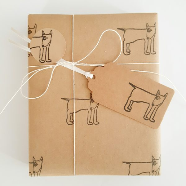 gift wrapped with english bull terrier wrapping paper