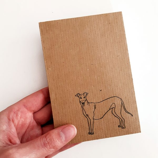 greyhound notebook. Small kraft botebook with greyhound design