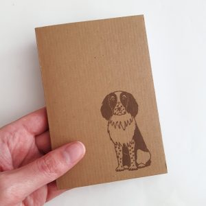 Springer Spaniel notebook. Small brown kraft notepad