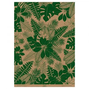 Full sheet of leaf wrapping paper. green tropical leaves on brown kraft paper