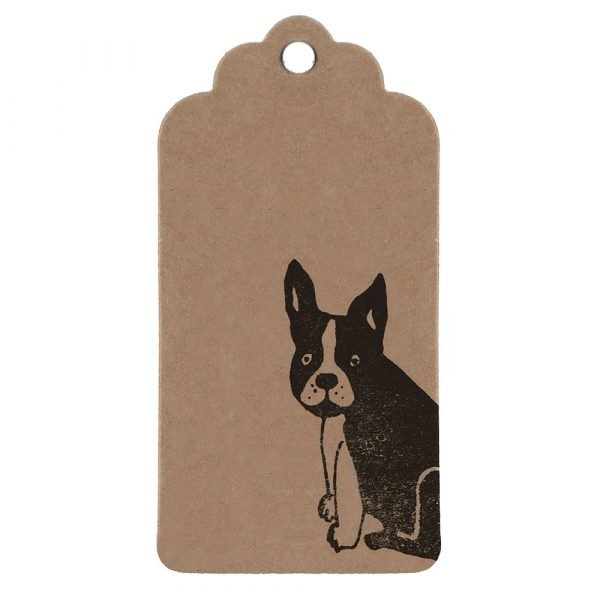 Frenchie gift tag - brown kraft parcel tag, with black frenchie
