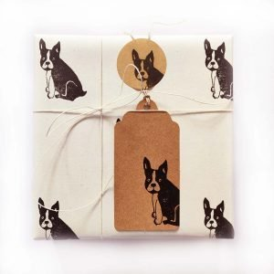 gift wrapped in contents from cream frenchie gift wrapping set