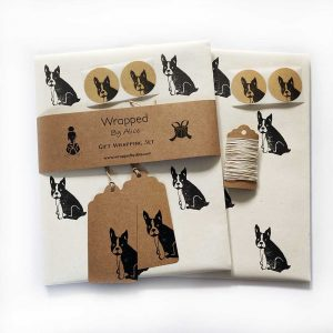 frenchie gift wrapping set, cream option