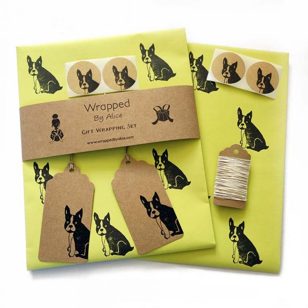 pistachio green gift wrap set, with black frenchie pattern