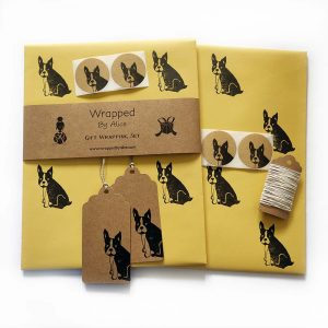 frenchie gift wrap set - yellow option