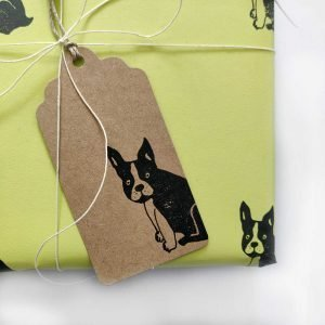 frenchie gift tag on present wrapped in pistachip green frenchie wrapping paper