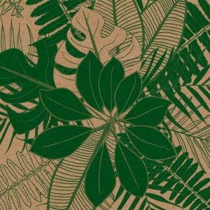 close up of leaf wrapping paper. green tropical leaves on brown kraft paper